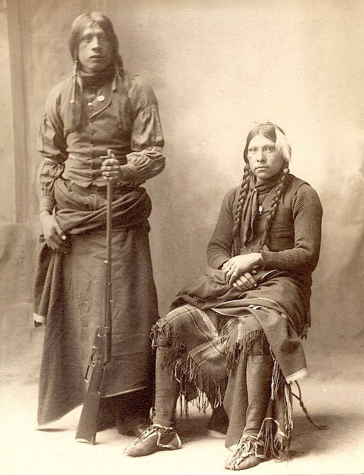 Fred Carruth and John Tatum. Wichita delegates to the Indian Congress in Omaha, NE. 1898. Photo by F.A. Rinehart.