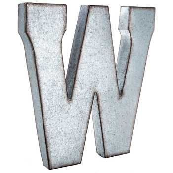 W Large Galvanized Metal Letter