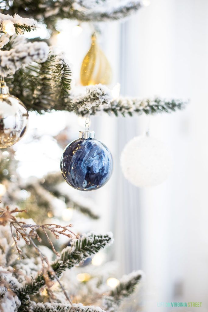 DIY Marble Paint Ornaments  Our Office Christmas Tree Holiday