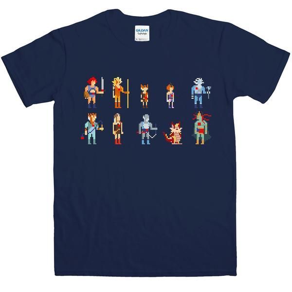 High quality, soft feel cotton T-shirt featuring pixel characters inspired by Thundercats  Gildan Softstyle T-Shirt 100% Jersey Cotton Available in mens or ladies fit  Care Instructions For best results wash inside out at a low temperature. Wash strong colours separately.
