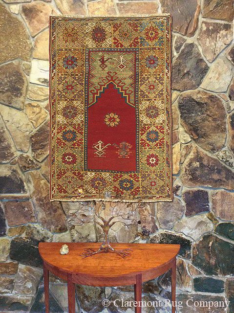 High-Collectible Turkish Bergama Prayer Rug Finds Perfect Expression In the Wall Hanging Context http://www.claremontrug.com/client-home-interiors-design/19th-century-rug-high-collectible-turkish-bergama-prayer-rug-finds-perfect-expression-in-the-wall-hanging-context/