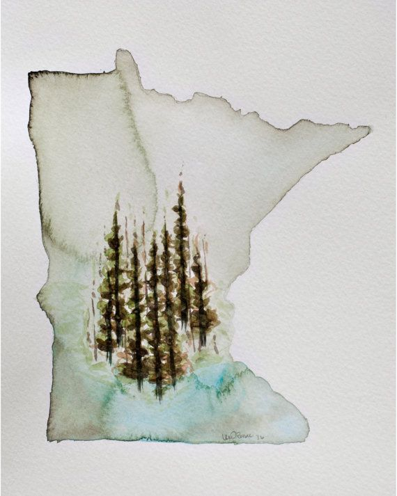 Northwoods  Minnesota Watercolor Print 8x10 by LexiRenaeStudios