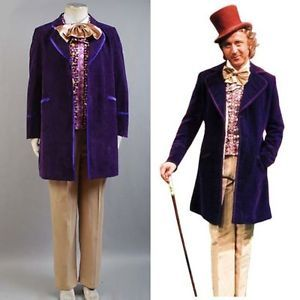 Willy Wonka and the Chocolate Factory Tuxedo Suit Halloween Cosplay Costume Coat