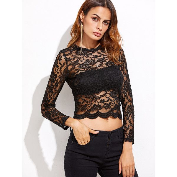 Black Floral Lace Crop Scallop Top (23 AUD) ❤ liked on Polyvore featuring tops, round top, scalloped tops, long-sleeve crop tops, floral crop top and floral lace top