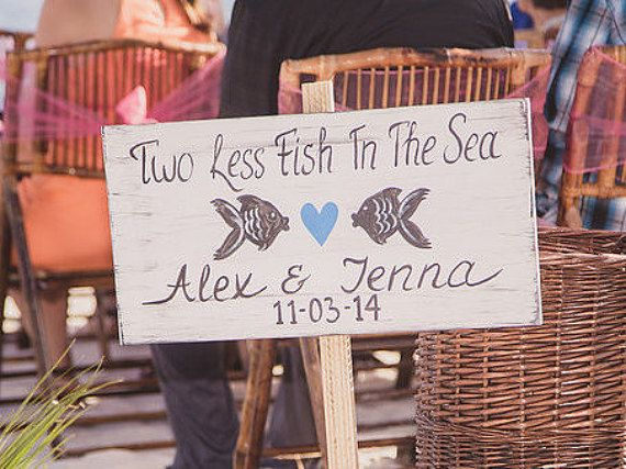 Rustic Beach Wedding Sign, Two Less Fish In The Sea Sign with Heart, Ocean Blue Wedding Decor, Key West Wedding