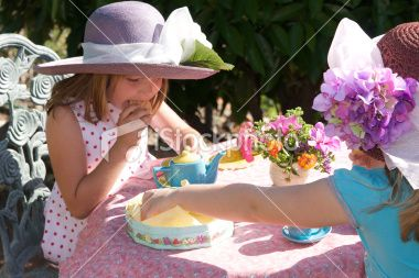 girls tea party | Outdoor Tea Party - Little Girls with Fancy Hats Royalty Free Stock ...pink, purple,aqua