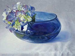 Hortensia in blauwe kom | schilderij van een stilleven in olieverf van Adriana van Zoest | Exclusieve kunst online te koop bij Galerie Wildevuur