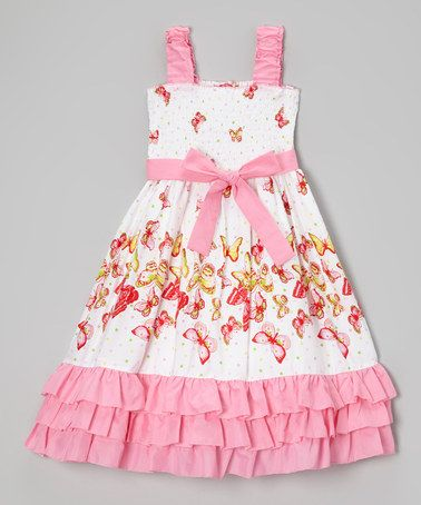Love this White & Pink Butterfly Ruffle Smocked Dress - Girls on #zulily! #zulilyfinds