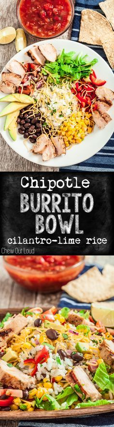 Fluffy, flavorful cilantro-lime rice is topped with everything you want. Healthy, easy, oh-so-delicious! Get your Chipotle fix at home. #chipotle #burrito #bowl