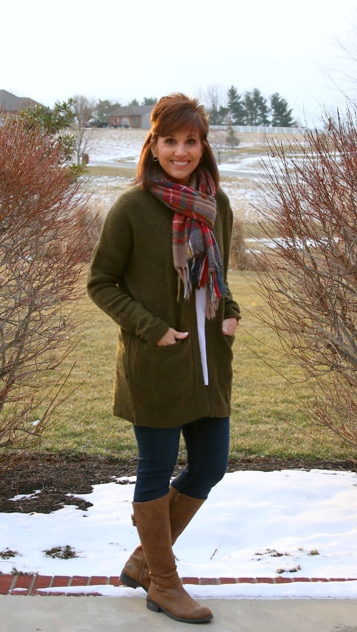 Oversized plaid scarf - fashion for women over 40