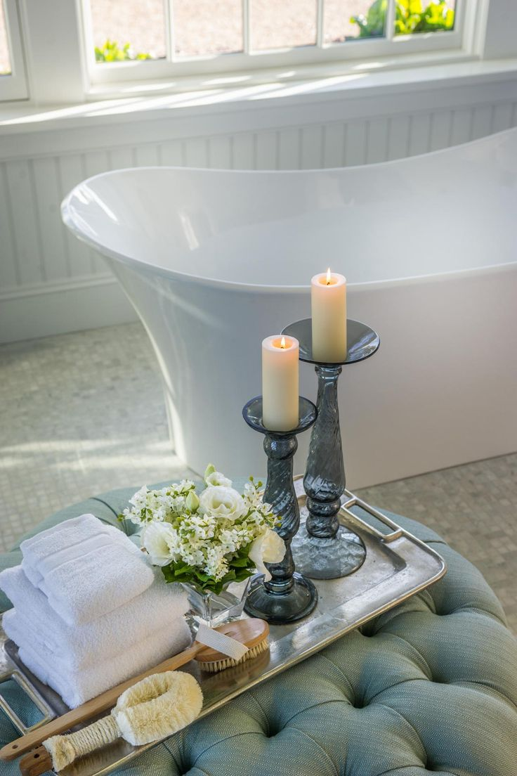 """It's the little details that give the HGTV Dream Home 2015 master bathroom the luxurious touch interior designer Linda Woodrum was hoping for. """"Trying to create the sense of a five-star hotel is very important,"""" she says. """"I think that's the experience you have when you walk into the space."""""""