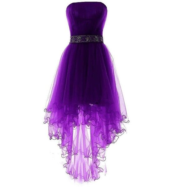 Fanciest Women's Strapless Beaded High Low Prom Dresses Short... (1.052.280 IDR) ❤ liked on Polyvore featuring dresses, gowns, short evening dresses, prom gowns, high low prom dresses, purple gown and short homecoming dresses