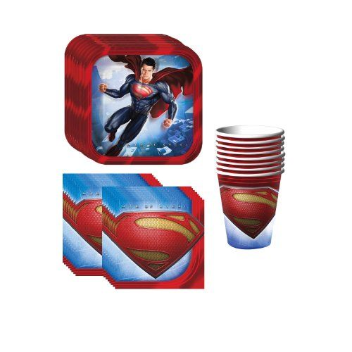 Superman Party Supplies Pack Including Plates, Cups and N...