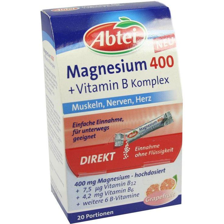 ABTEI Magnesium 400+Vitamin B Komplex Granulat:   Packungsinhalt: 20 St Granulat PZN: 07641038 Hersteller: Omega Pharma Deutschland GmbH…