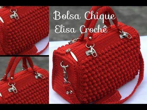 Versão destros : Bolsa chique em crochê ( 2ª parte ) # Elisa Crochê - YouTube