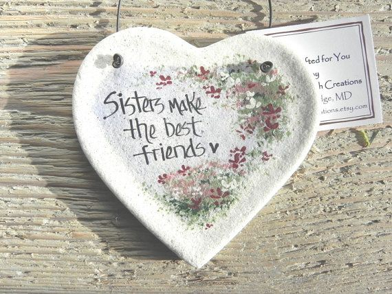 Sister Gift Valentine Birthday Christmas Handcrafted Salt Dough Ornament