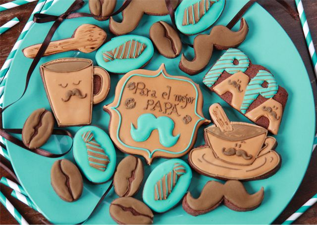 Fathers Day Cookies~           By dulcesentimiento, turquoise, Brown, shirt, necktie, coffee, mustache
