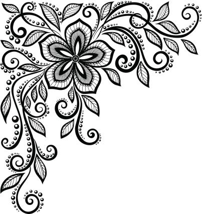 beautiful black-and-white lace flower in the corner. : Vector Art