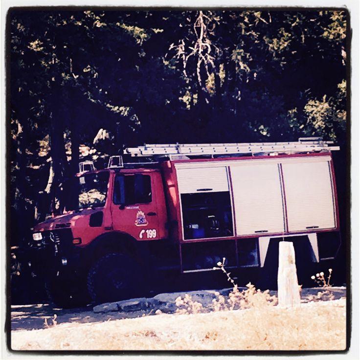 En av brandbilarna i Ixia på Rhodos