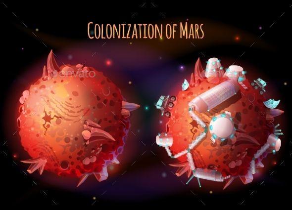 Colonization of Mars Vector Concept Illustration - Vector EPS