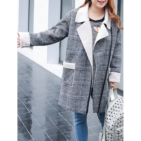 $50.39 Plus Size Shearling Fleece Plaid Coat - Gray