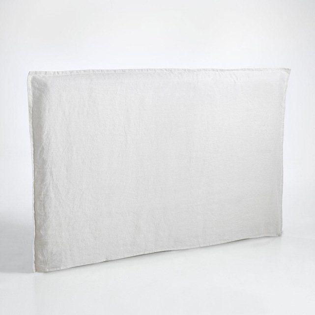 Housse tête de lit en lin lavé uni pour tête de lit Sandor. Forme taie d'oreiller, volant plat 2,5 cm. Haut. 107 cm Larg. 105 cm. Lavable 40°. Coordonnée au linge de lit en lin lavé Elina.