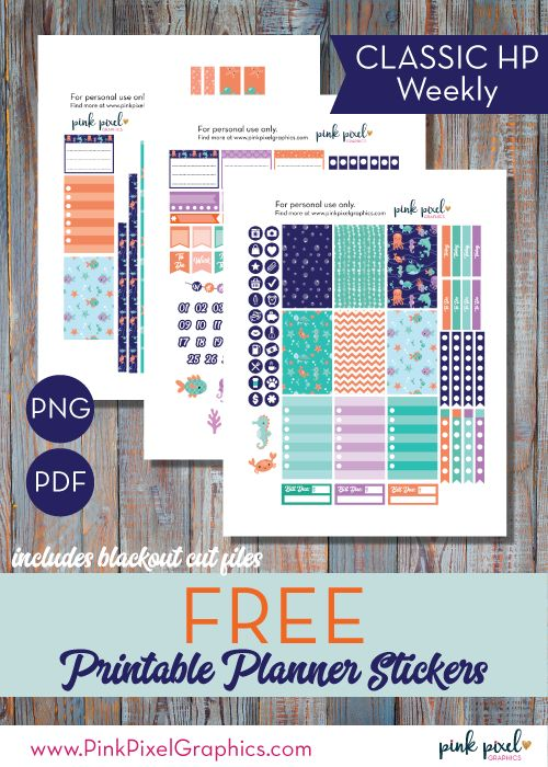 Free Under the Sea Planner Stickers {Classic Happy Planner, Erin Condren and Mini happy Planner formats} from Pink Pixel Graphics {newsletter subscription required}