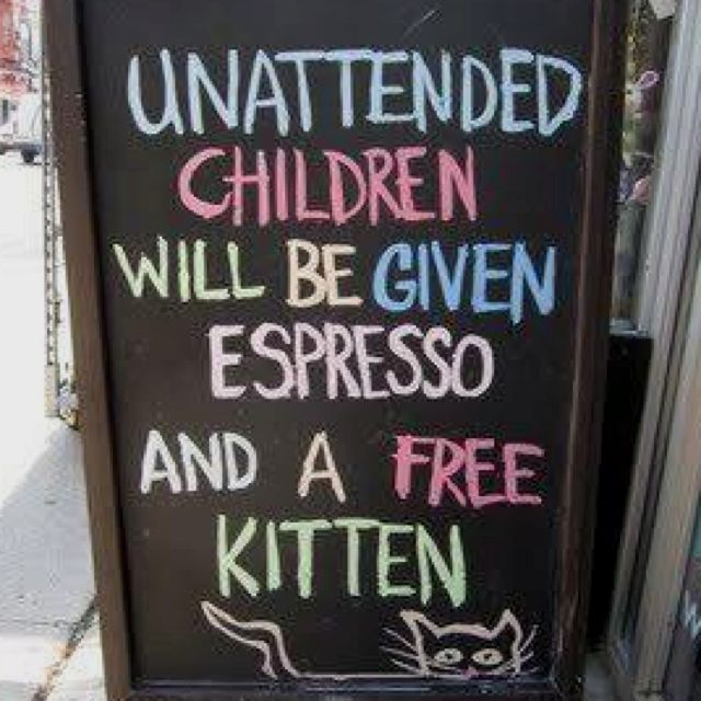 Ai bambini incustoditi verrà offerto un espresso ed un gattino