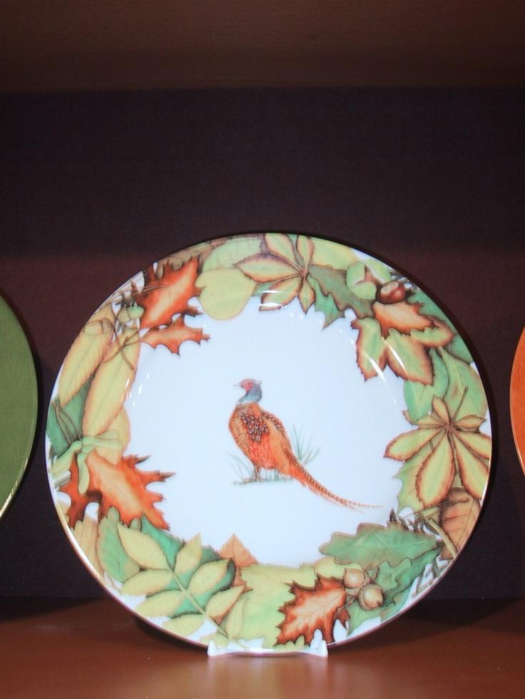 dinner plate, autumn leaves, pheasant bird, Limoges porcelain