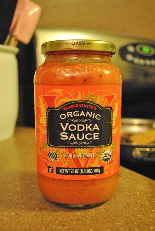 trader joe's vodka sauce.  We eat this a lot.  I usually mix in a can of diced tomatoes to make it go a little further.  It's great plain on pasta or with chicken or hamburger mixed in.