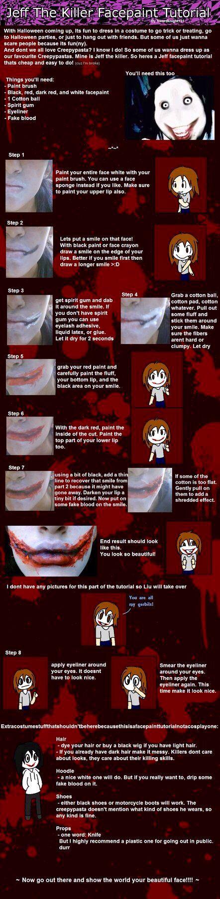 jeff the killer Halloween makeup tourial