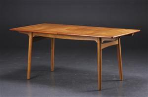 Hans J. Wegner. Spisebord model AT-310 med udtræk, teak og eg