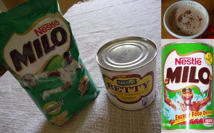 Milo and Betty sweetened condensed milk.