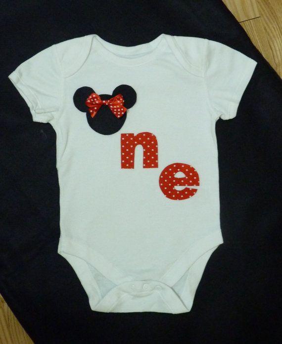 1st First Birthday Girl Minnie Mouse Onesie / Vest