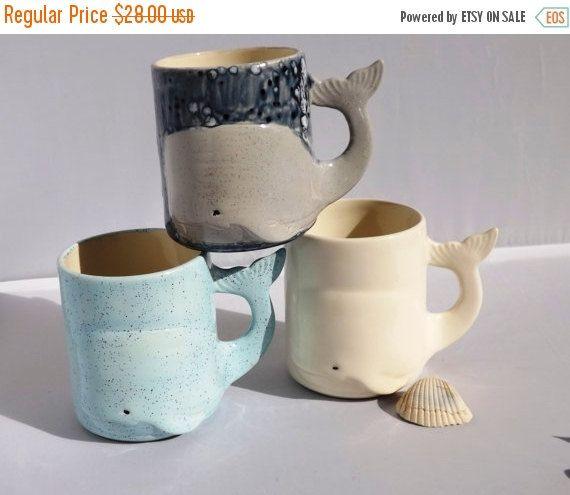 ON SALE Whale Mug Handmade Ceramic from my Charleston, SC Studio