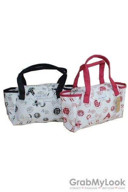 GrabMyLook  Cat Heart Flowers Pattern Handbag