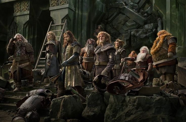 Jed Brophy, John Callen, Martin Freeman, Peter Hambleton, William Kircher, James Nesbitt, Dean O'Gorman, Ken Stott, Stephen Hunter, Aidan Turner, and Adam Brown in The Hobbit: The Battle of the Five Armies (2014)