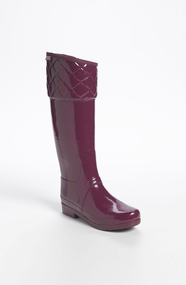 Purple rain boots from Hunter. We love the quilt-pattern top!