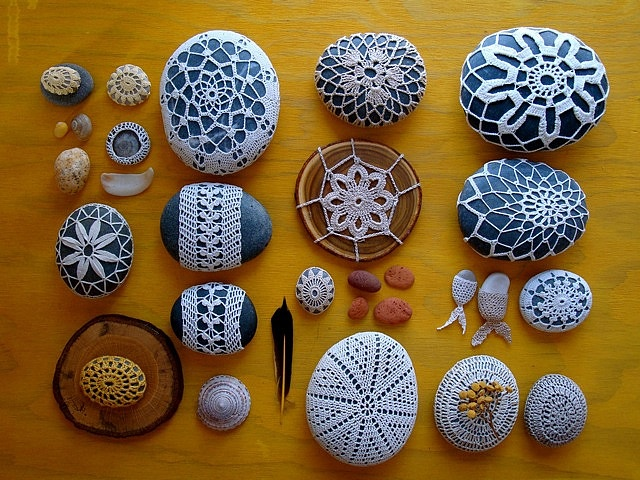 beautiful collection of crochet covered sea stones