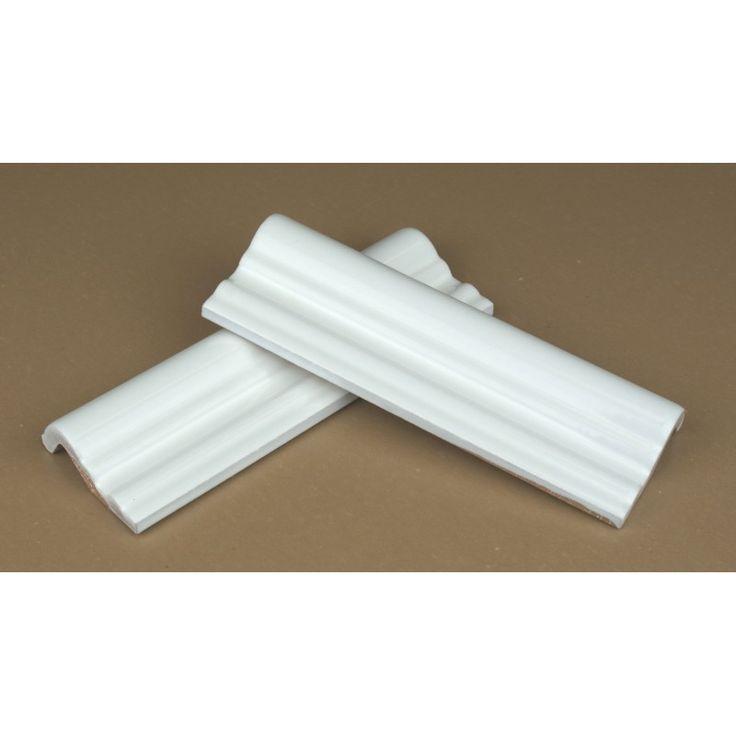 Dado border tile moulding white 15cm, White ceramic dado border tile moulding, Back by popular demand - we have reintroduced the dado border tile.  Used in Bathroom, Kitchen, Hallway & around Fi