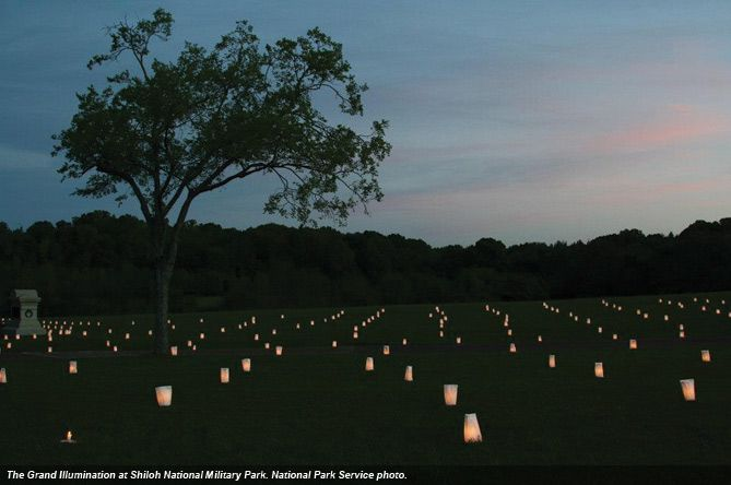 23,743 luminaries to commemorate the casualties at the 1862 Battle of Shiloh