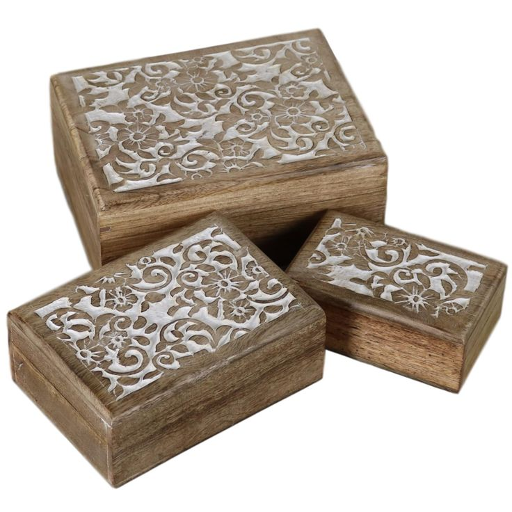 Floral Design - Wooden Box - Set of 3