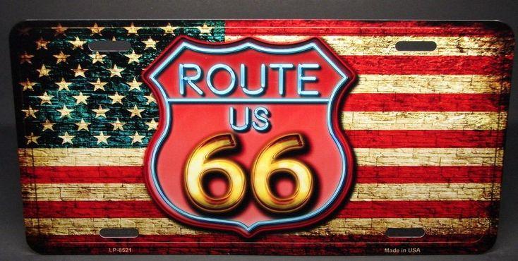 Route 66 License Plate USA Novelty Sign Flag Americana Rustic Gift New Made USA #SportsAddictInc