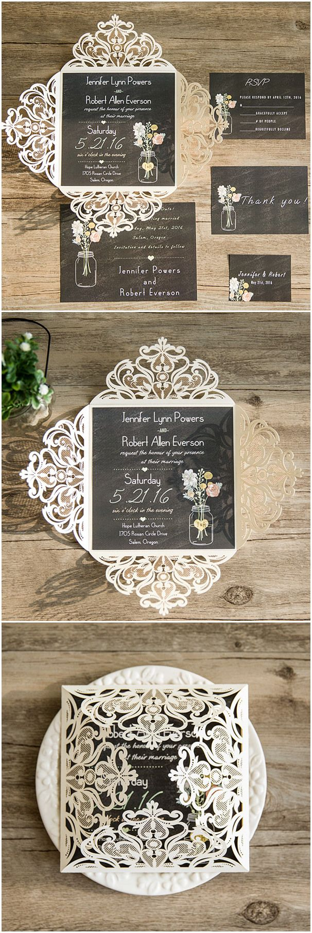country rustic mason jars wedding invitations with laser cut pocket via elegantwinvites