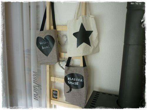 """DIY: Stofftaschen mit Tafelfolie - beschriftbar - """"Plauder-Taschen"""" vonKarin"""