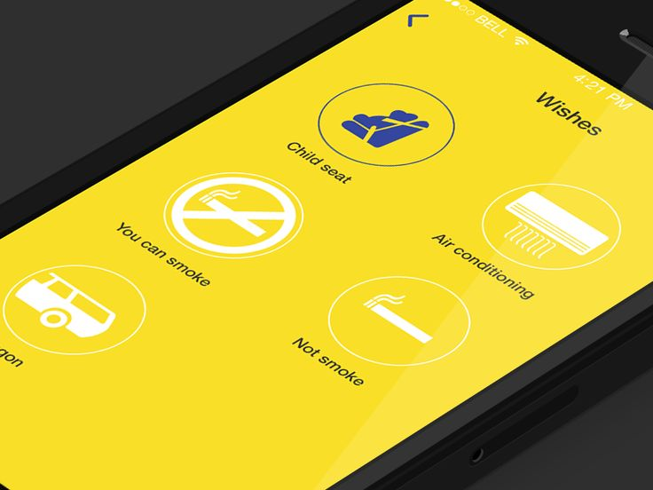 Screen with regards to the application taxi by Alex Martinov for Pappico