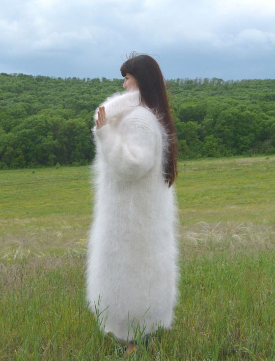 Woman's fuzzy mohair sweaterdress