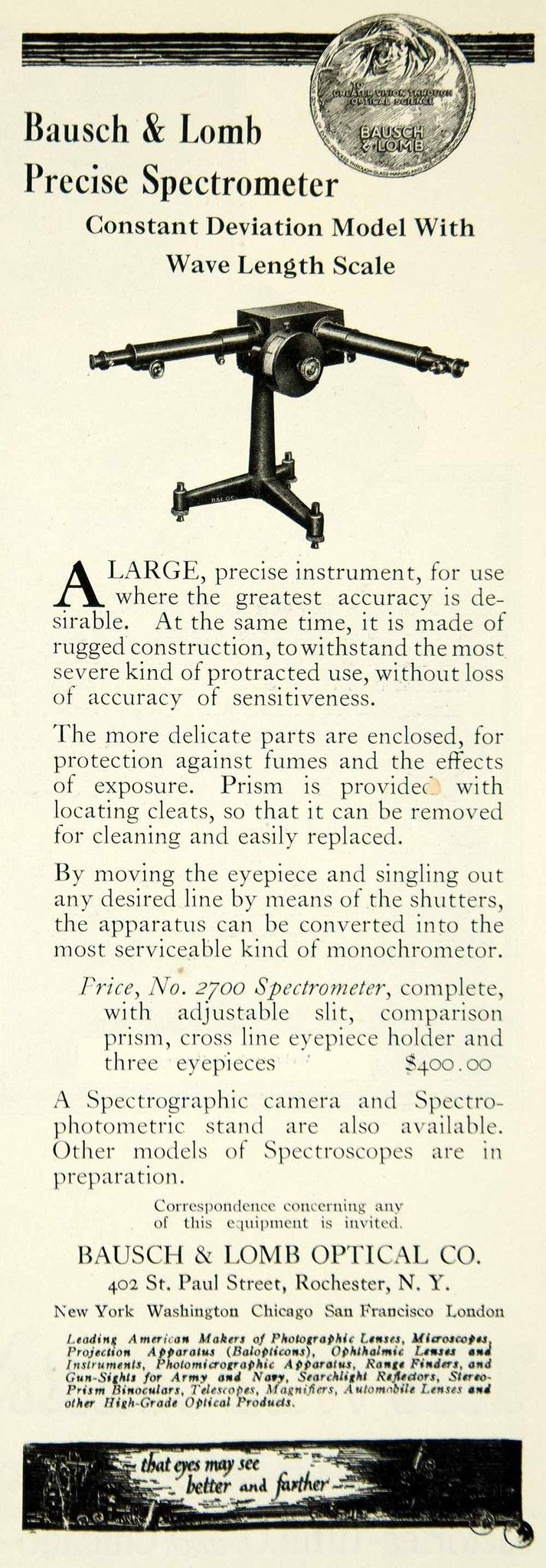 1922 Ad Bausch Lomb Optical No 2700 Spectrometer Science Laboratory IEC2