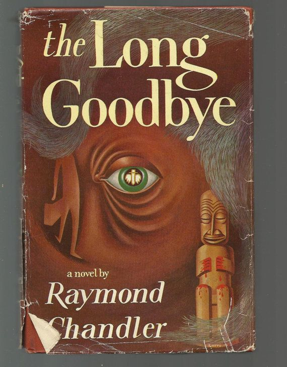 The Long Goodbye, a novel featuring private eye Philip Marlowe by Raymond Chandler. Tight solid 1954 hardcover with dust jacket. This is BOOK CLUB Edition. Dust jacket still intact overall but has a lot of obvious wear and tear, missing small bits of dust jacket here and there around edges. Tight spine. Boards solidly intact, in good shape. Top of closed pages stained yellow color by publisher. Tiny smudge or two here and there, nothing major. Pages intact, look clean. Good solid 1954 book…