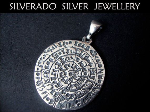 Sterling Silver 925 Ancient Phaistos Disc by SilveradoJewellery, €68.00